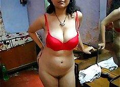 Bengali Indian Bhabhi Sexy Savita In Red Lingerie