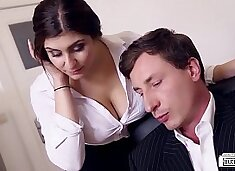 BUMS BUERO - Boss fucks busty German secretary and cums on her big tits