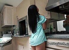 Petite Asian without panties banging in kitchen