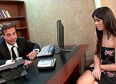 Lucky mature boss gets to drill his perfect brunette secretary Ashlyn Rae's wet young pussy