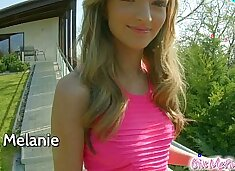 GiveMePink Slim teen orgasms multiple times with hitachi wand