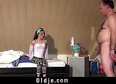 Teen and old man tease ends with fucking