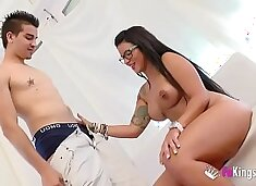 Just about time! Busty Tania's very first porn scene!