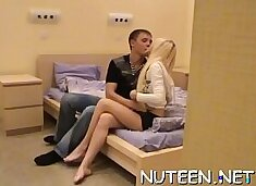 Cute amateur teen with perky love bubbles fucks a biggest white cock
