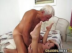 Teen creampied by old man