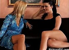 Hot threesome on the couch
